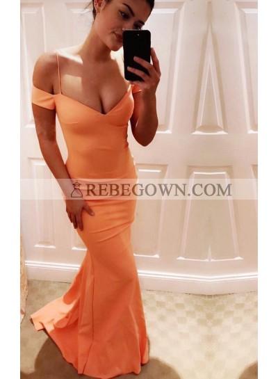Orange Natural Long Floor length Column/Sheath Prom Dresses