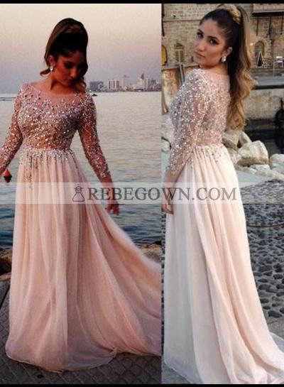 Beading Long Sleeve A-Line Chiffon 2021 Glamorous Pink Prom Dresses