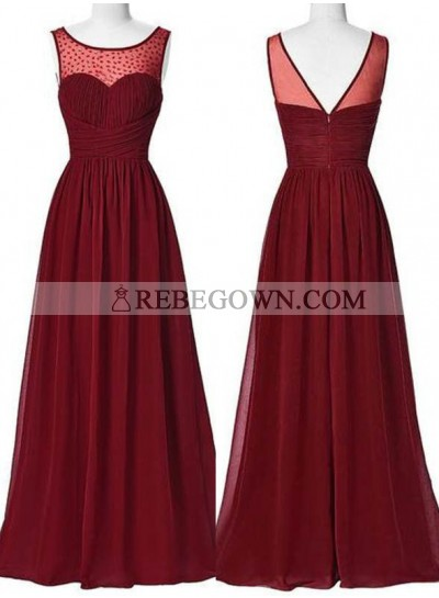 2021 Gorgeous Red Beading Ruching A-Line Chiffon Prom Dresses