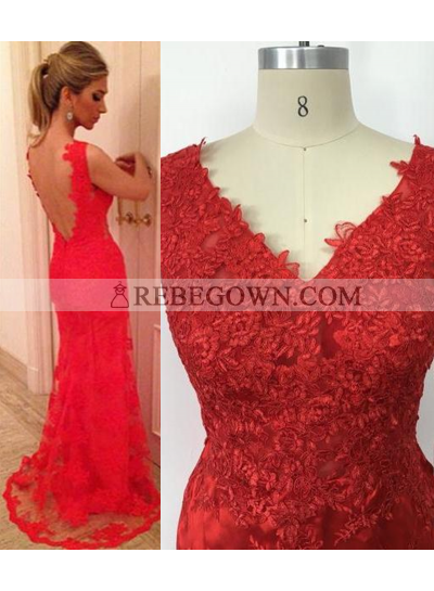 2021 Gorgeous Red Long Floor length V-Neck Lace Prom Dresses