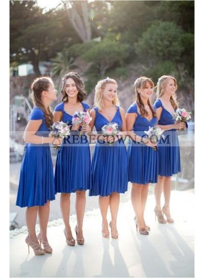 2020 Cheap A Line Royal Blue Chiffon Ruffles Short Bridesmaid Dresses / Gowns
