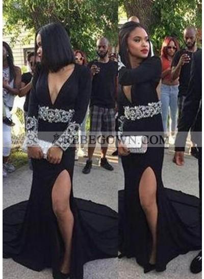 2020 Junoesque Black Beading Deep V-Neck Chapel Train Chiffon Prom Dresses