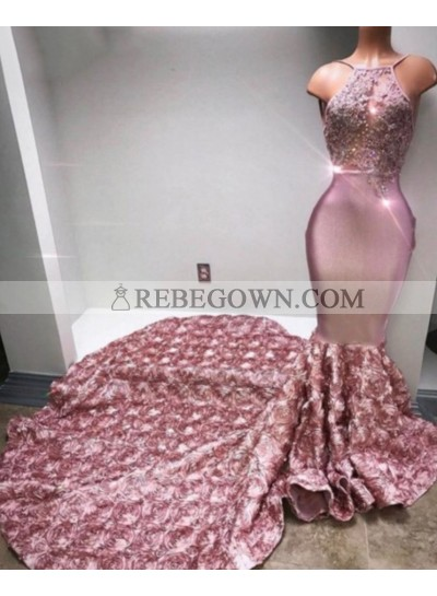 Trumpet/Mermaid  Satin Halter Dusty Rose 2021 Prom Dresses