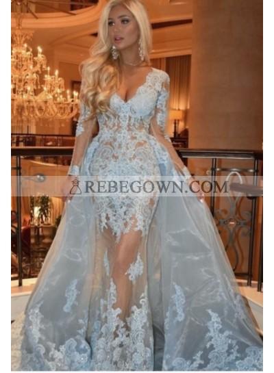 2021 Long Sleeve Sheath/Column Light Blue V-neck Lace Prom Dresses