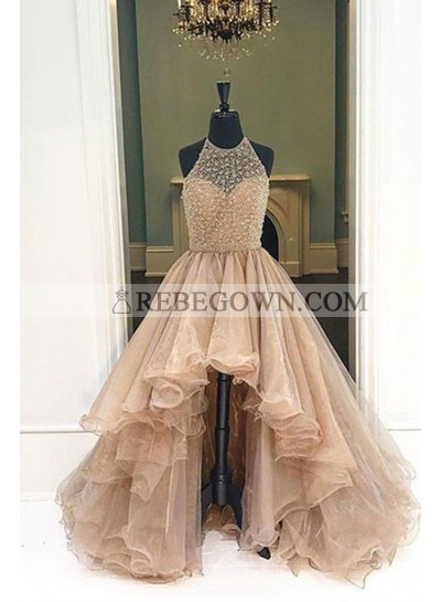 2021 Halter Beaded High Low Organza Champagne Prom Dresses