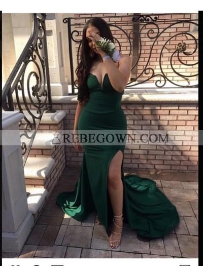 2021 Sexy Dark Green Sweetheart Split Mermaid  Prom Dresses