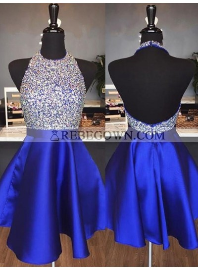 2020 Halter Satin Backless Short Prom Dresses / Homecoming Dress