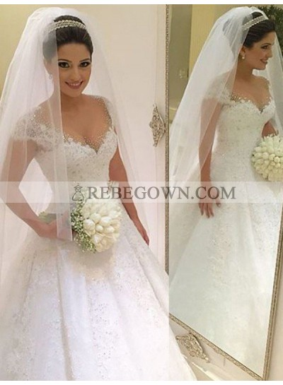 2021 New Arrival Cap Sleeve Lace Ball Gown Wedding Dresses