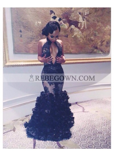 2020 Gorgeous Black Prom Dresses Mermaid  Layers Deep V Sexy Long Appliques