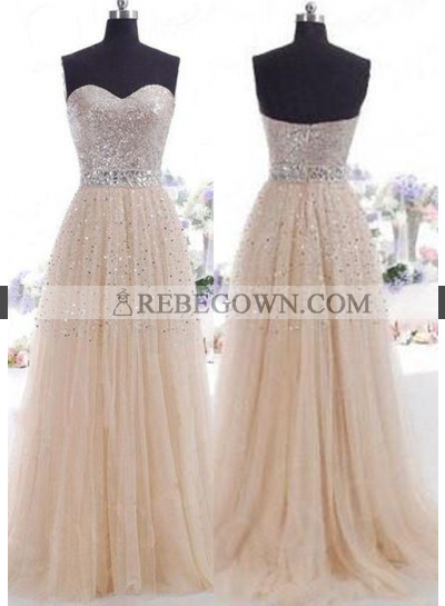 Champagne Beading Sweetheart A-Line Tulle Prom Dresses