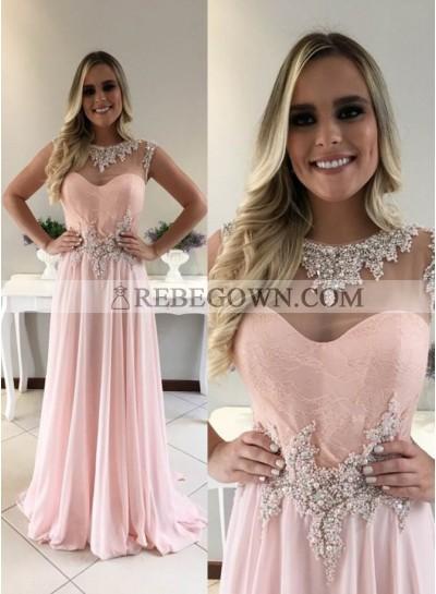 Beading Jewel Neck A-Line Chiffon 2020 Glamorous Pink Prom Dresses