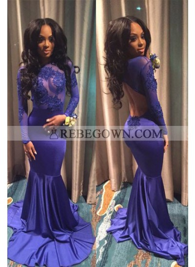 rebe gown 2021 Blue Sexy Appliques Open-Back Mermaid Prom Dresses