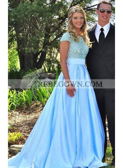rebe gown 2021 Blue Prom Dresses Round Neck Beading A-Line Satin