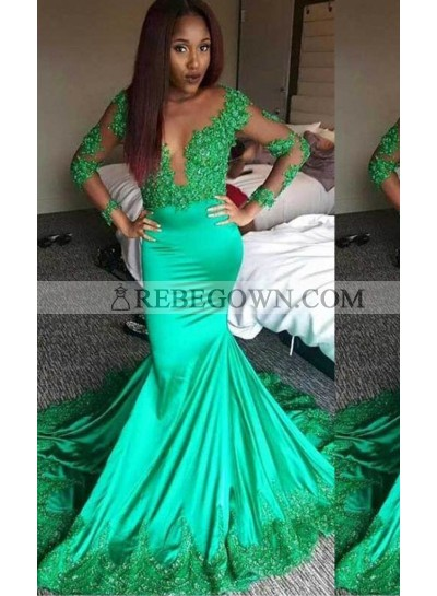 Appliques Sheer Sleeves Mermaid Stretch Satin Green Prom Dresses