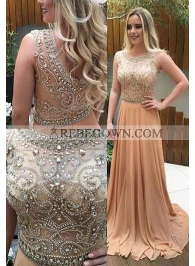 Beading Jewel Neck A-Line Chiffon Prom Dresses