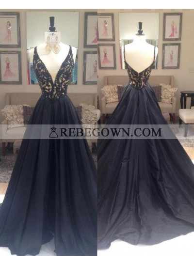 2021 Junoesque Black Beading V-Neck Zipper Prom Dresses