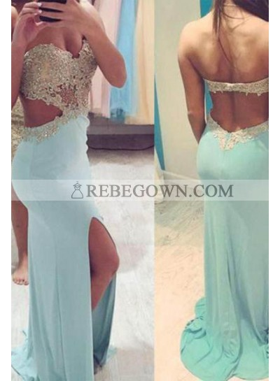 rebe gown 2021 Blue Long Floor length Sweetheart Column/Sheath Satin Prom Dresses
