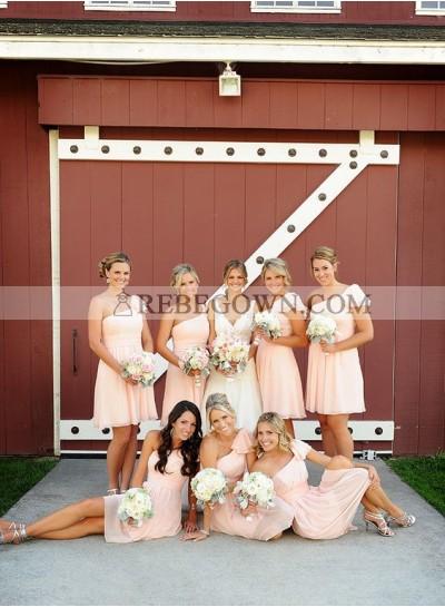 2020 Cheap A Line One Shoulder Pink Short Bridesmaid Dresses / Gowns