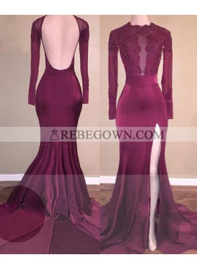 2021 Cheap Mermaid  Burgundy Backless Chiffon Prom Dresses
