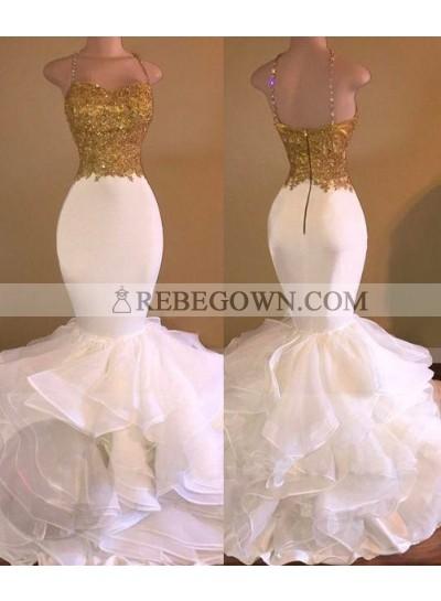 2020 Mermaid  Spaghetti Straps Organza Floor-Length Prom Dresses