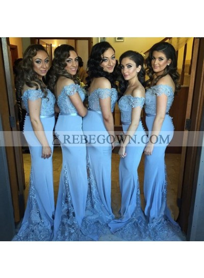 Blue Sheath Applique Off Shoulder Chiffon Long Bridesmaid Dresses / Gowns