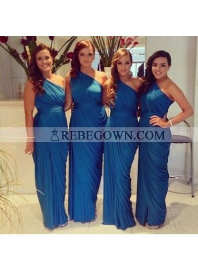 Royal Blue Column Ruffle One Shoulder Chiffon Long Bridesmaid Dresses / Gowns