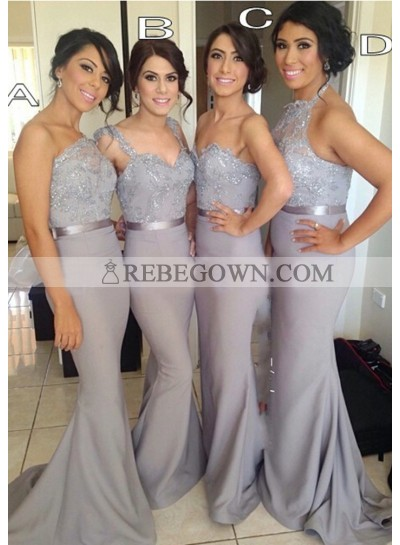 Sheath Silver Sequins Chiffon Long Bridesmaid Dresses / Gowns