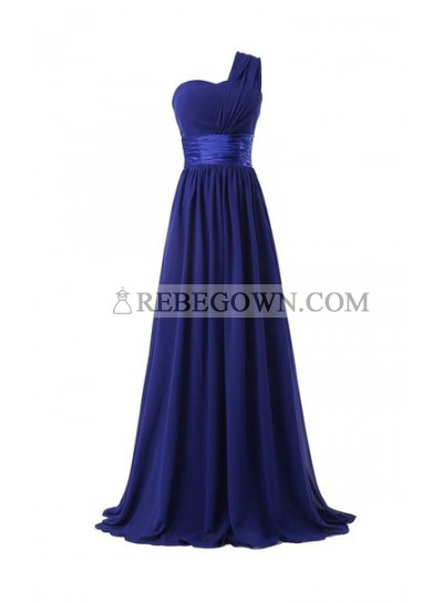 Column One Shoulder Floor Length Chiffon Royal Blue Bridesmaid Dresses / Gowns