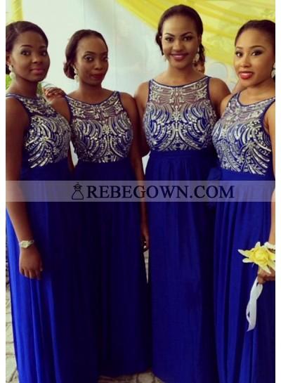Royal Blue Scoop Crystal Chiffon Column Long Bridesmaid Dresses / Gowns
