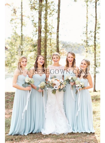 2021 New Arrival A Line Sweetheart Light Sky Blue Chiffon Long Bridesmaid Dresses / Gowns