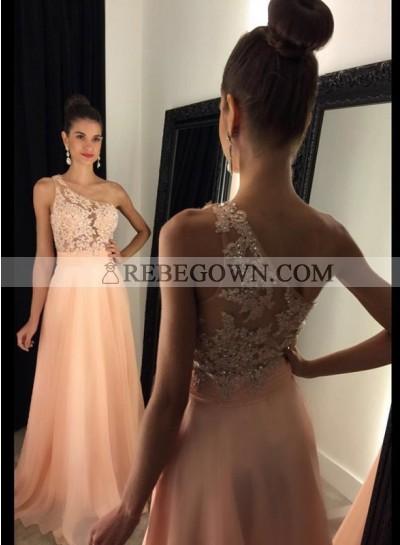 2021 Cheap Chiffon Princess/A-Line Peach One Shoulder Prom Dresses