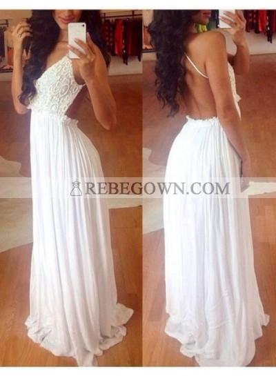 2020 Charming White Princess/A-Line Chiffon Backless Prom Dresses