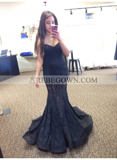 2021 Siren Black Sweetheart Lace Prom Dresses