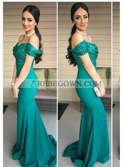 2021 Sexy Mermaid Teal Satin Prom Dresses