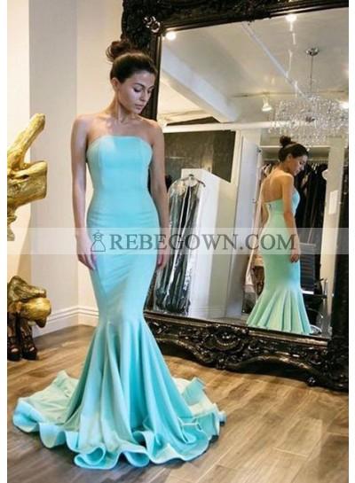 Satin Mermaid Strapless Prom Dresses