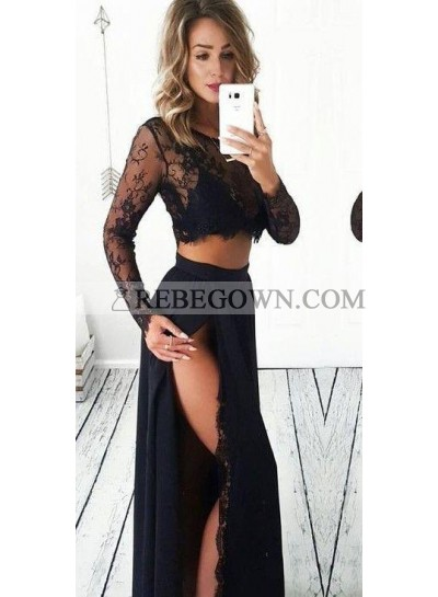 Princess/A-Line Long Sleeves Black Two Pieces Prom Dresses