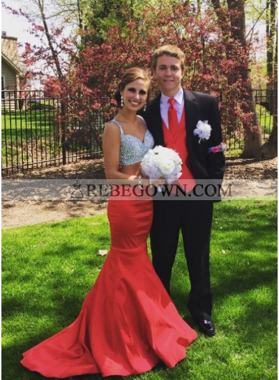 Alluring Mermaid Red Two Pieces Prom Dresses