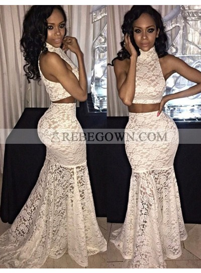 White Mermaid Lace Two Pieces Prom Dresses