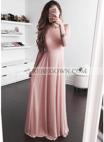 2021 Cheap Princess/A-Line Chiffon Blushing Pink Prom Dresses