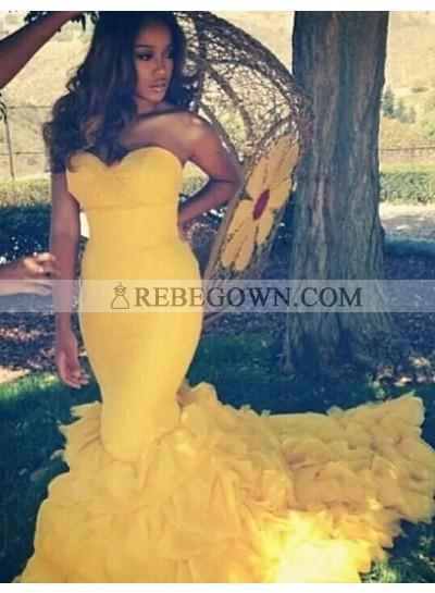2021 Sexy Mermaid Daffodil Satin Prom Dresses