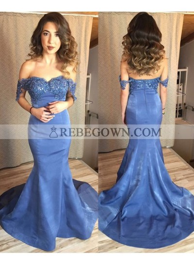 Alluring Mermaid Sweetheart Satin Off The Shoulder Prom Dresses