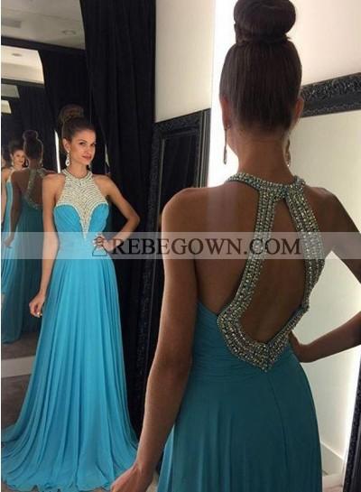 2021 Cheap Princess/A-Line Chiffon Backless Prom Dresses