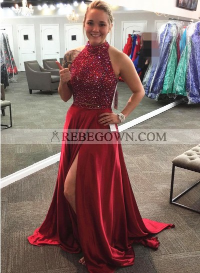 Princess/A-Line Satin Burgundy Satin Two Pieces Prom Dresses