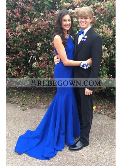 2021 Siren Mermaid Royal Blue Satin Prom Dresses