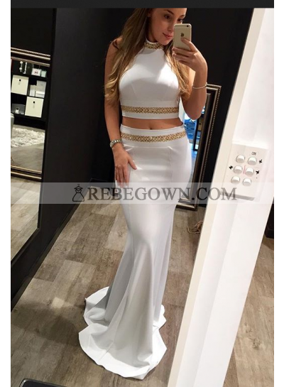 2021 Siren Mermaid White Two Pieces Prom Dresses
