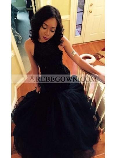 2021 Sexy Mermaid Black Tulle Ruffles Prom Dresses