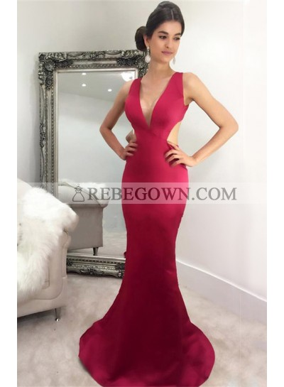 2020 Sexy Mermaid Burgundy Satin Prom Dresses
