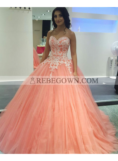 2021 Charming Peach Tulle Ball Gown Sweetheart Prom Dresses