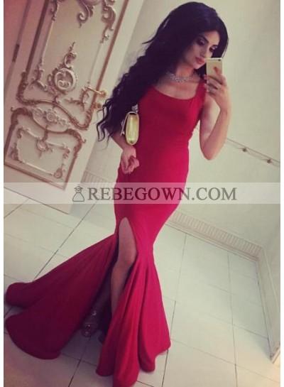 2020 Sexy Mermaid Square Satin Side Slit Prom Dresses