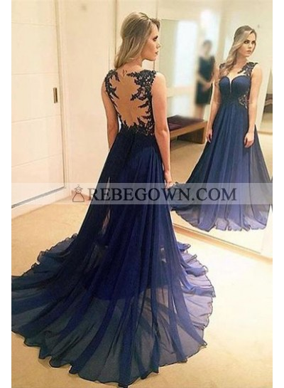 Princess/A-Line Chiffon Dark Navy Sweep Train Prom Dresses